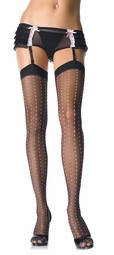 Sheer Thigh High Stockings with Dotted Pinstripe
