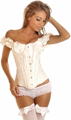 White Sweetheart Embroidered Corset with Peasant Sleeves