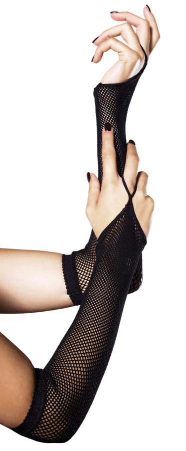 Fishnet Arm Warmers with Finger Hoop