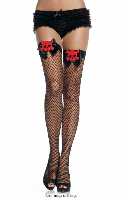 Pirate Fishnet Thigh Highs with Bows and Skulls