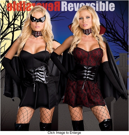 Bat Girl Super Hero Costume Reversible into Vampire Costume
