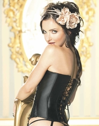 Hourglass Satin Contour Corset in Black and Nude