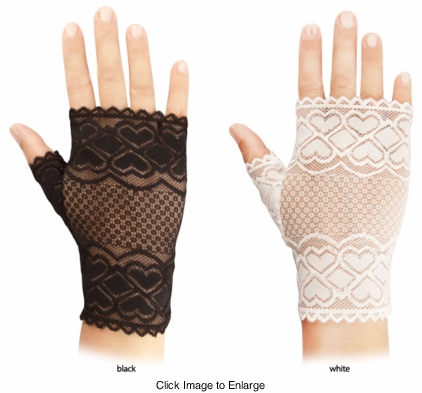 Lace Fingerless Gloves with Hearts