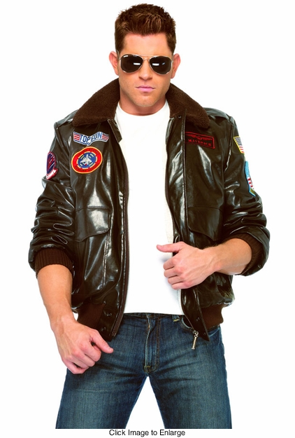 "Top Gun Men's ""Maverick"" Bomber Jacket and Aviator Sunglasses"