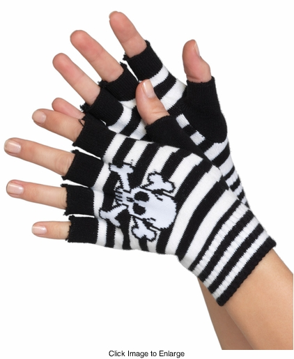 Skull Stripe Fingerless Gloves
