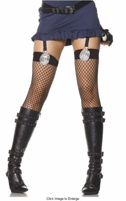 Net Police Badge Thigh High Stockings