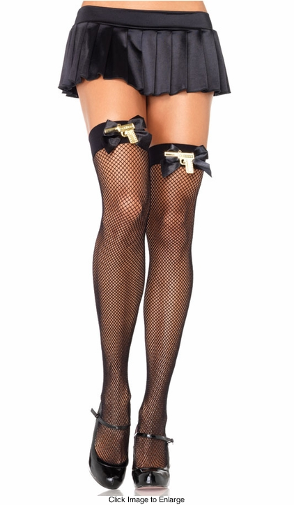 Gangster Fishnet Thigh High Stockings