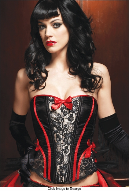 Raven Corset in Satin and Lace