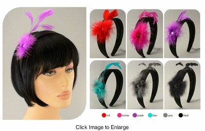 "1.15"" Wide Satin Headband with Feather Fascinator"