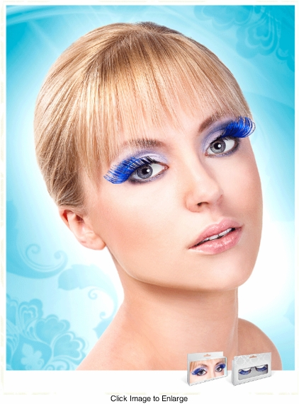 Long Blue and Black False Lashes with Extra Volume