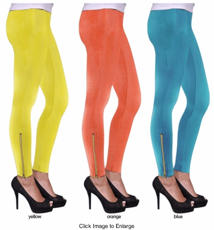 Cotton Leggings with Zippers