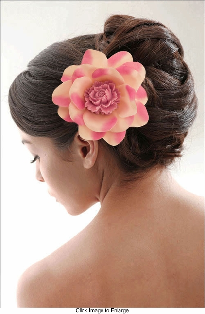 "3.5"" Flower Hair Clip with Flower Center"