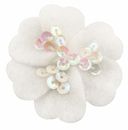 "1.75"" Felt Flower Hair Clips with Sequin Center in White"