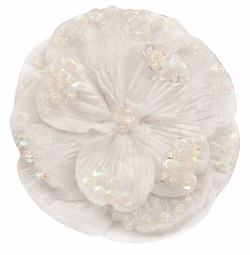 "2.75"" White Velvet Flower Hair Clip with Iridescent Sequins"