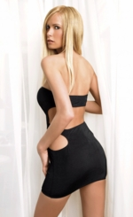 Black Tube Mini Dress with Cutout Back