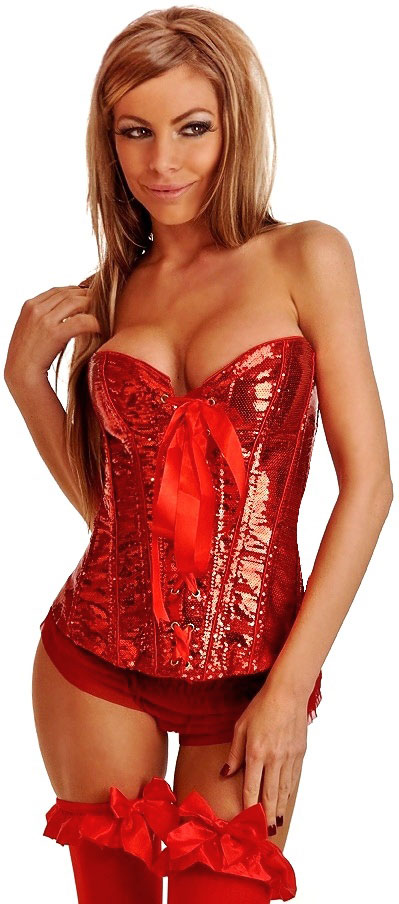 Red Sequin Corset with Lace-Up Front