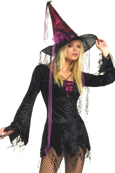 2 Piece Velvet Witch Costume with Matching Hat