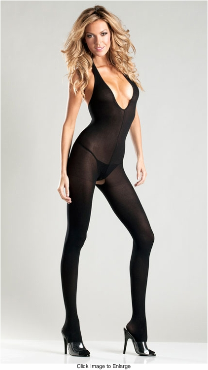 Opaque Halter Top Bodystocking (Plus Size Available)