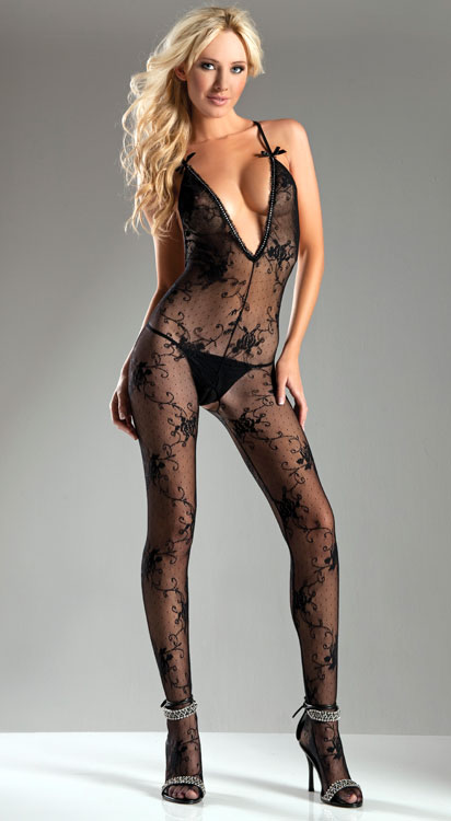 Rose Lace Bodystocking with Crystal Trim (Plus Size Available)