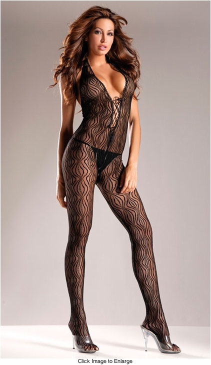 Swirl Lace Bodystocking with Lace-Up Front (Plus Size Availalable)