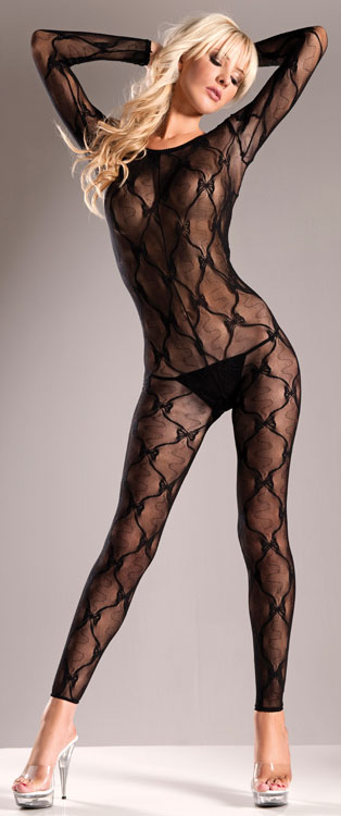 Footless Lace Bodystocking with Criss Cross Back (Plus Size Available)