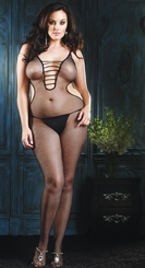 Halter Fishnet Bodystocking with Strappy V-Front
