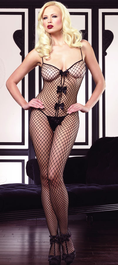 Industrial Net Bodystocking with Bow Accents