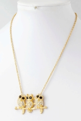 Owls on a Twig Necklace
