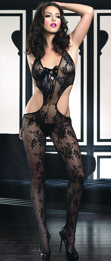 Floral Lace Cutout Bodystocking with Ribbon Lace Front