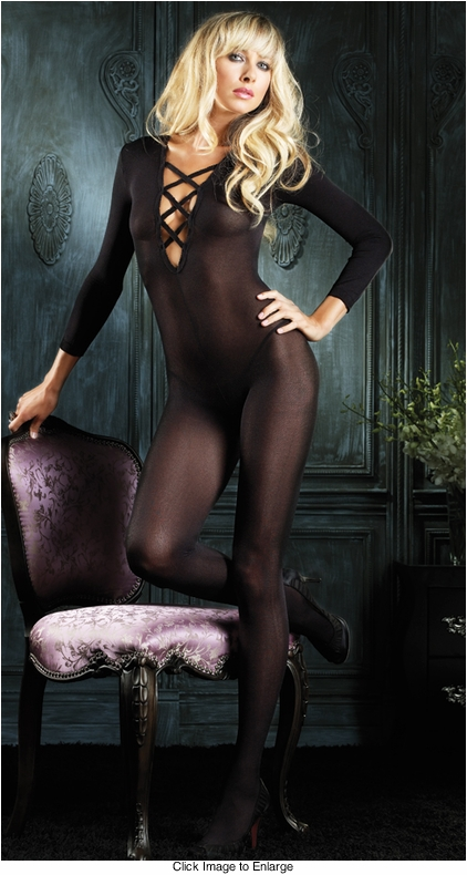 Sheer Long Sleeve Bodystockings with Criss Cross Front