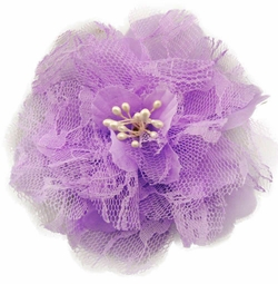 "4"" Retro Lace Lavender Flower Hair Clips"