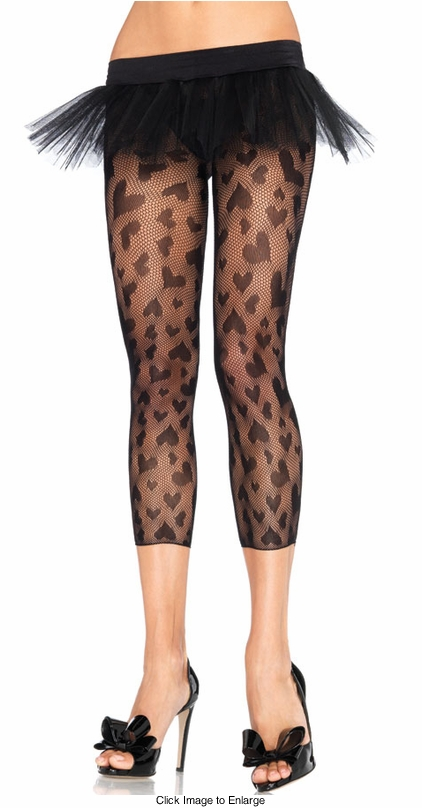 Heart Net Footless Tights