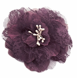 "4"" Retro Lace Purple Flower Hair Clips"
