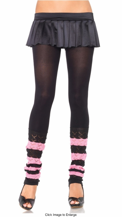 Opaque Footless Tights with Crochet Bottom