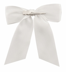 "4.5"" Wide White Satin Ribbon Hair Bows"