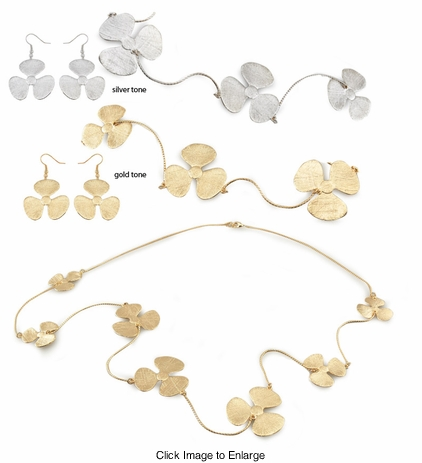 Clover Charm Necklace and Earrings