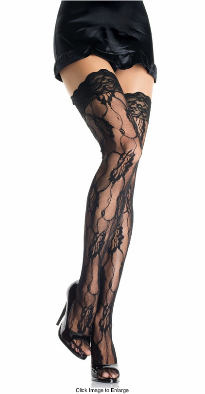 Rose Lace Thigh High Stockings with Lace Top