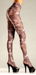 Opaque Floral Print Tights Pantyhose