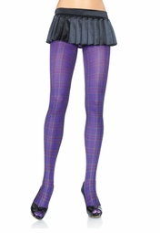 Opaque Checker Print Tights