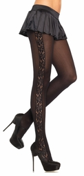 Opaque Tights with Flower Lace Insert