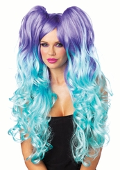 Midnight Long Curly Wig with Two Clip-Ons for $39.00