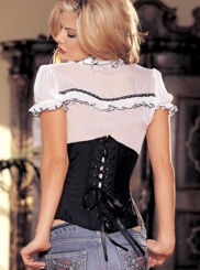 Satin Waist Cincher with Lace-up Back and Skull Design
