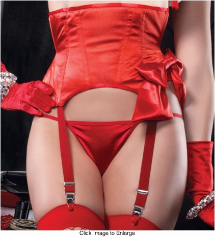 Red Satin Waist Cincher with Garters and Bow