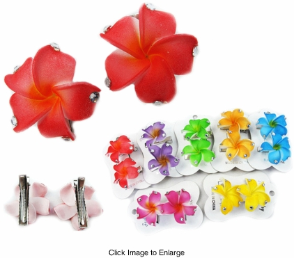 Hawaiian Flower Hair Clip with Crystals Pair