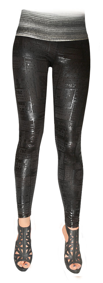 Shiny Print Black Leggings