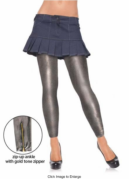 Gunmetal Grey Metallic Leggings with Gold Tone Side Zippers