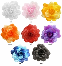 "4.5"" Scalloped Rose Flower Hair Clip"