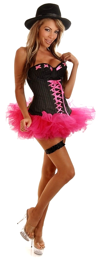 Corset Gangster Costume with Hat, Skirt and Garter