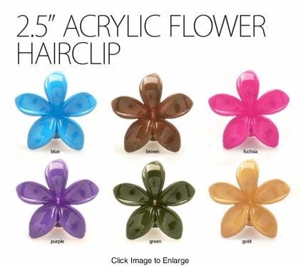 "2.5"" Acrylic Flower Hair Clip in 6 Colors"