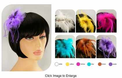 "3"" Feather Fascinator Hair Clip or Pin"